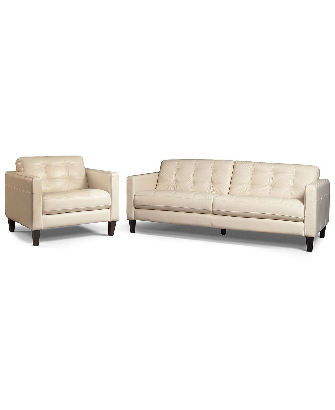Milan 2 Piece Leather Sofa Set And Chair Couches