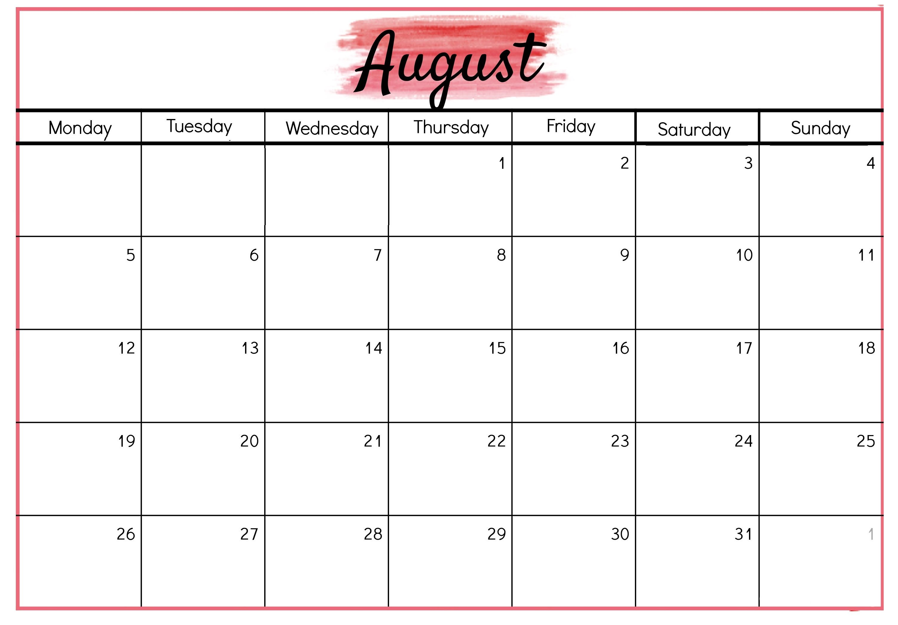 August 2019 Calendar With Holidays Calendar Printables Calendar