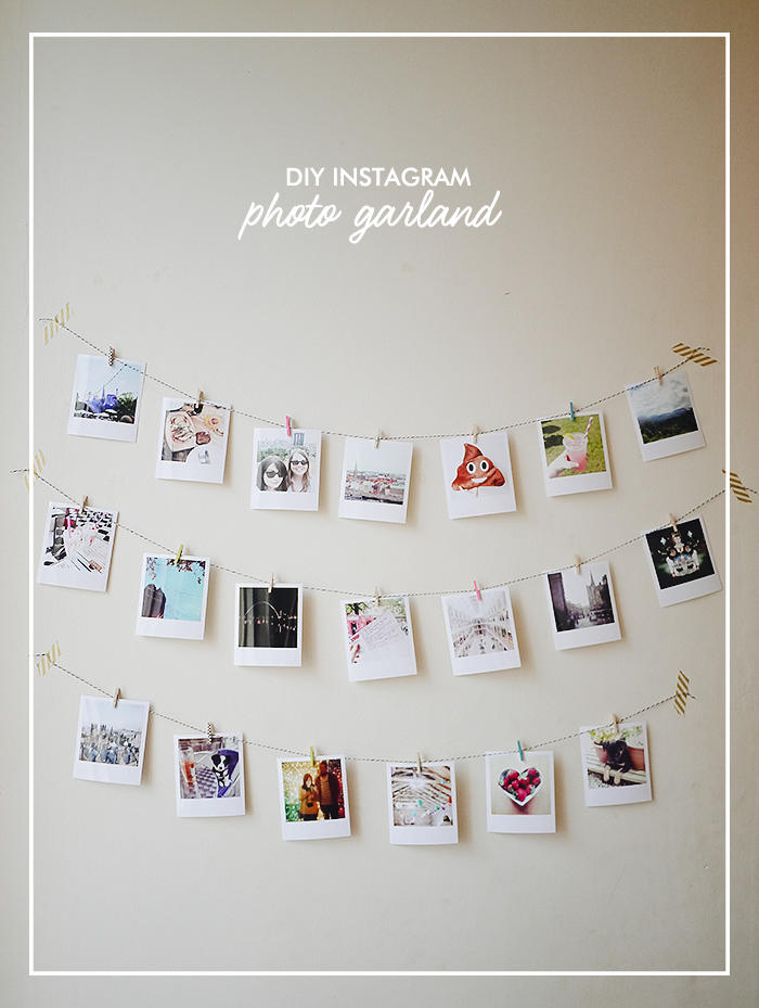 diy instagram photo garland random pinterest diy decor and diy photo. Black Bedroom Furniture Sets. Home Design Ideas
