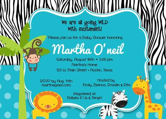 baby shower invitation jungle u0026 zebra for boy diy printable blue safari
