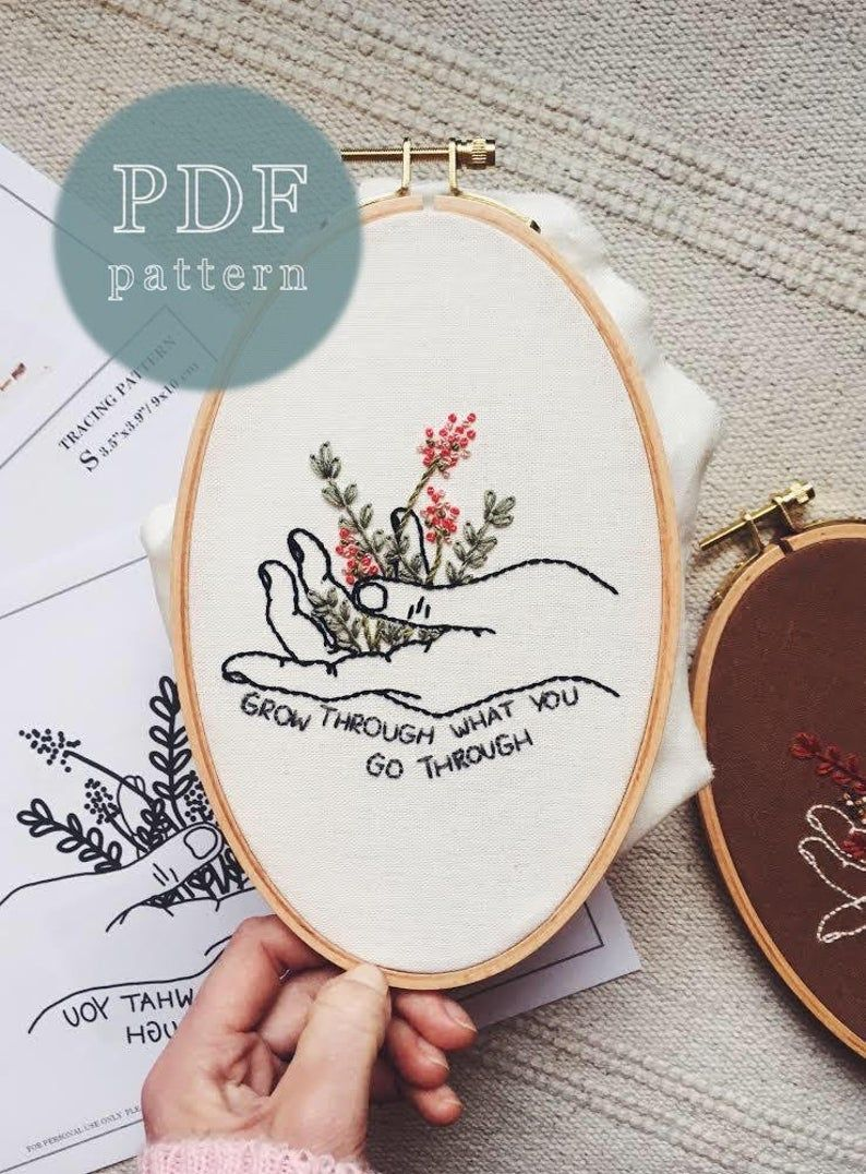Grow Through What You Go Through Hand Embroidery Pattern   Etsy