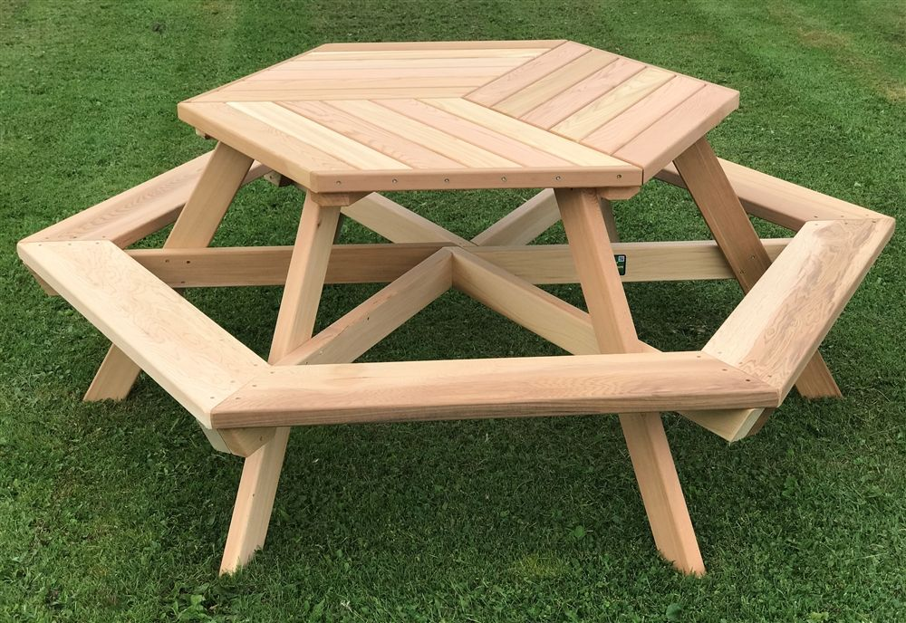 56 Western Red Cedar Picnic Table With Attached Backs Picnic