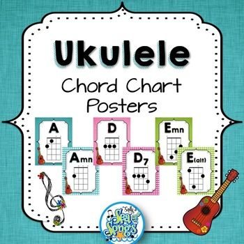 Ukulele Chord Chart Posters - Teal \ Blooms Teacher pay teachers - ukulele chord chart