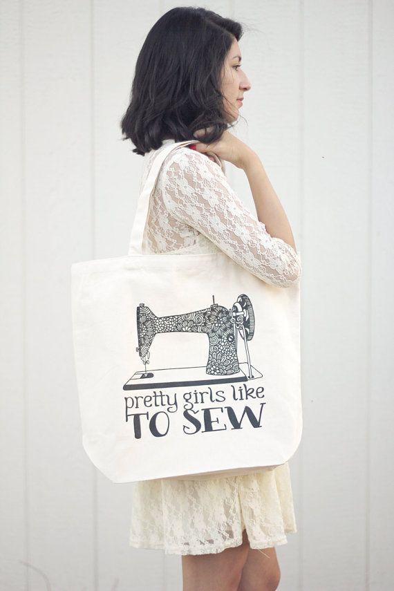 Grande Tote bag - belle ragazze piacciono cucire - Canvas Tote bag - riutilizzabile, lavabile ed Eco Friendly - 12oz robusto in cotone naturale