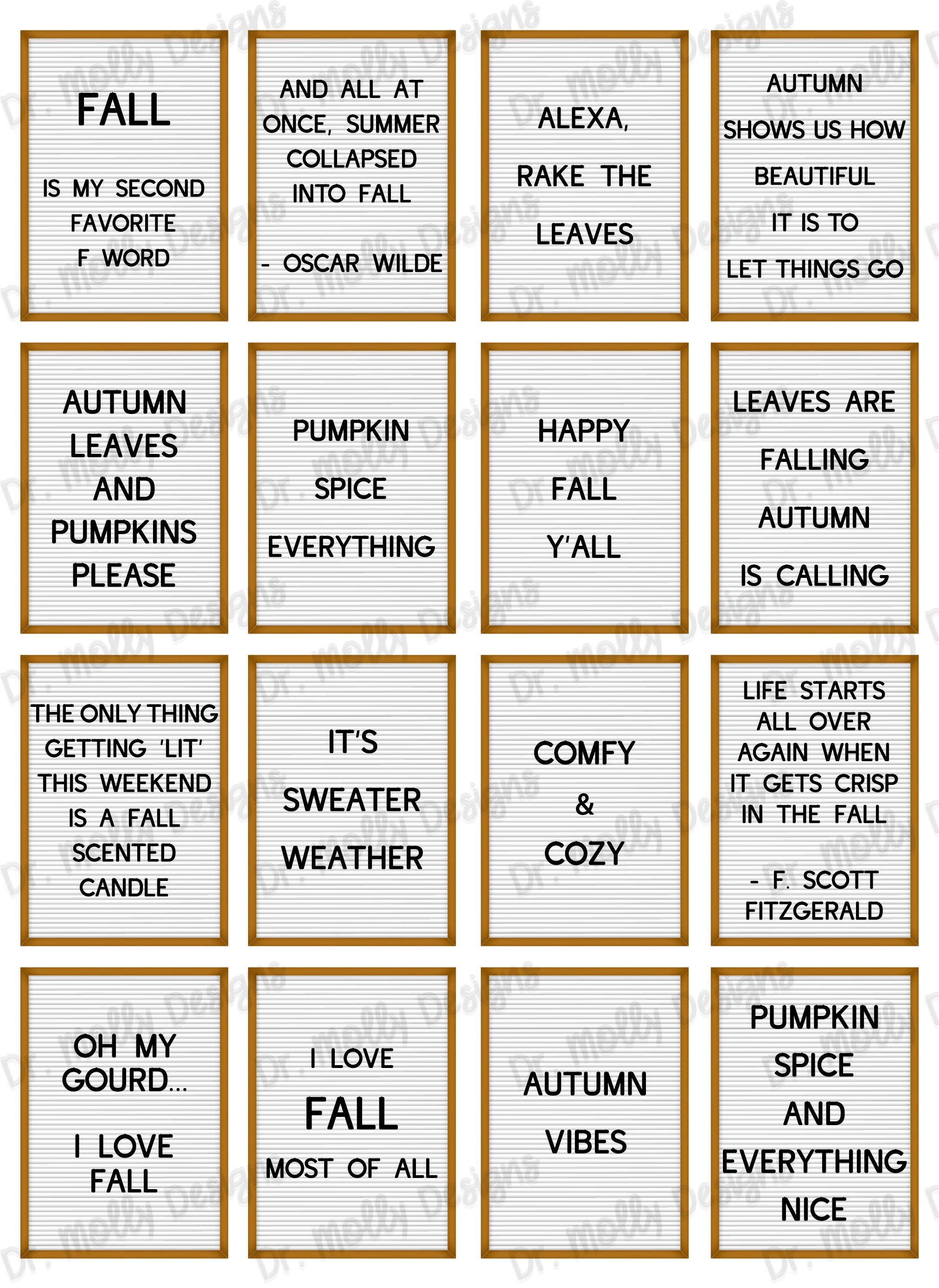 Fall Letterboard Quotes  Printable Planner Stickers  Fall | Etsy