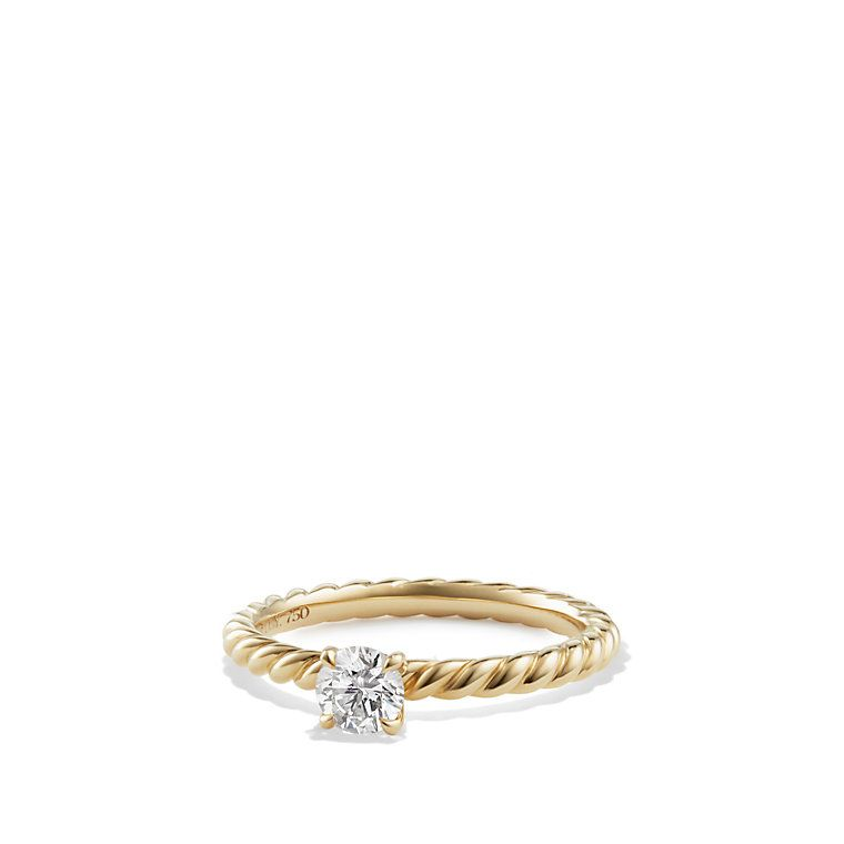 ring classic dy solitaire in jewelry cable rings david engagement lyst yurman cushion platinum