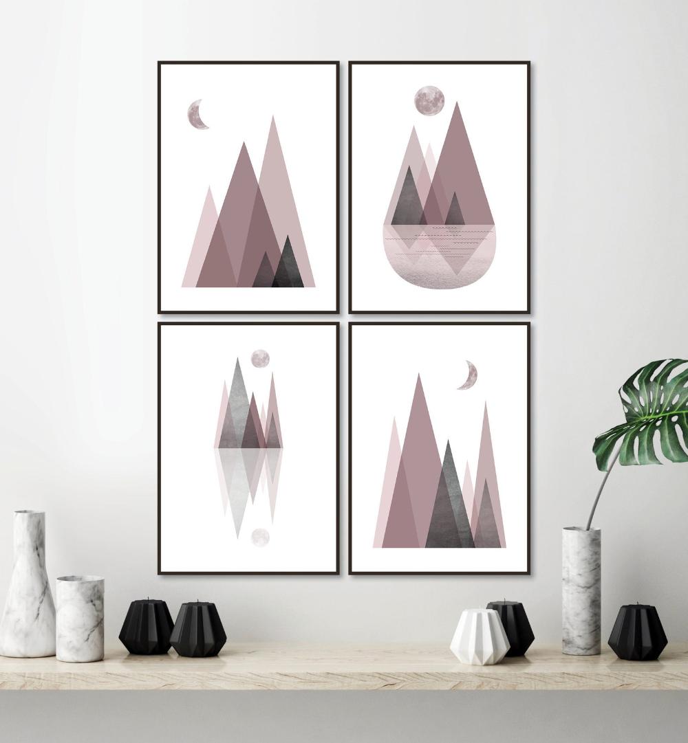 Set Of 4 Printable Mauve Grey Mountain Art Prints Digital Download