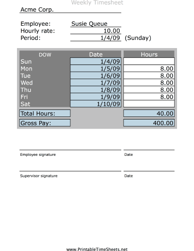 Simple Weekly Timesheet Printable Time Sheets Free To Download