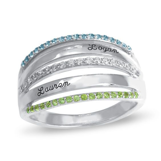 ca209b21b9 Couple's Birthstone and White Topaz Multi-Row Ring in Sterling Silver by  ArtCarved® (2 Stones and Names)