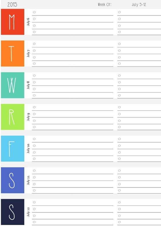 Free Weekly DATED Calendar Printables! 2015 and 2016 at