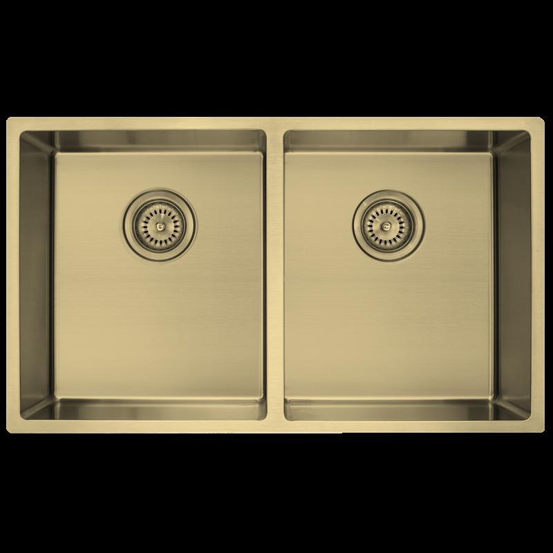 Decorium Light Gold Inset / Undermount Double Bowl Sink In