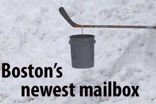 Snow plow buried his mailbox so he put this one up as a