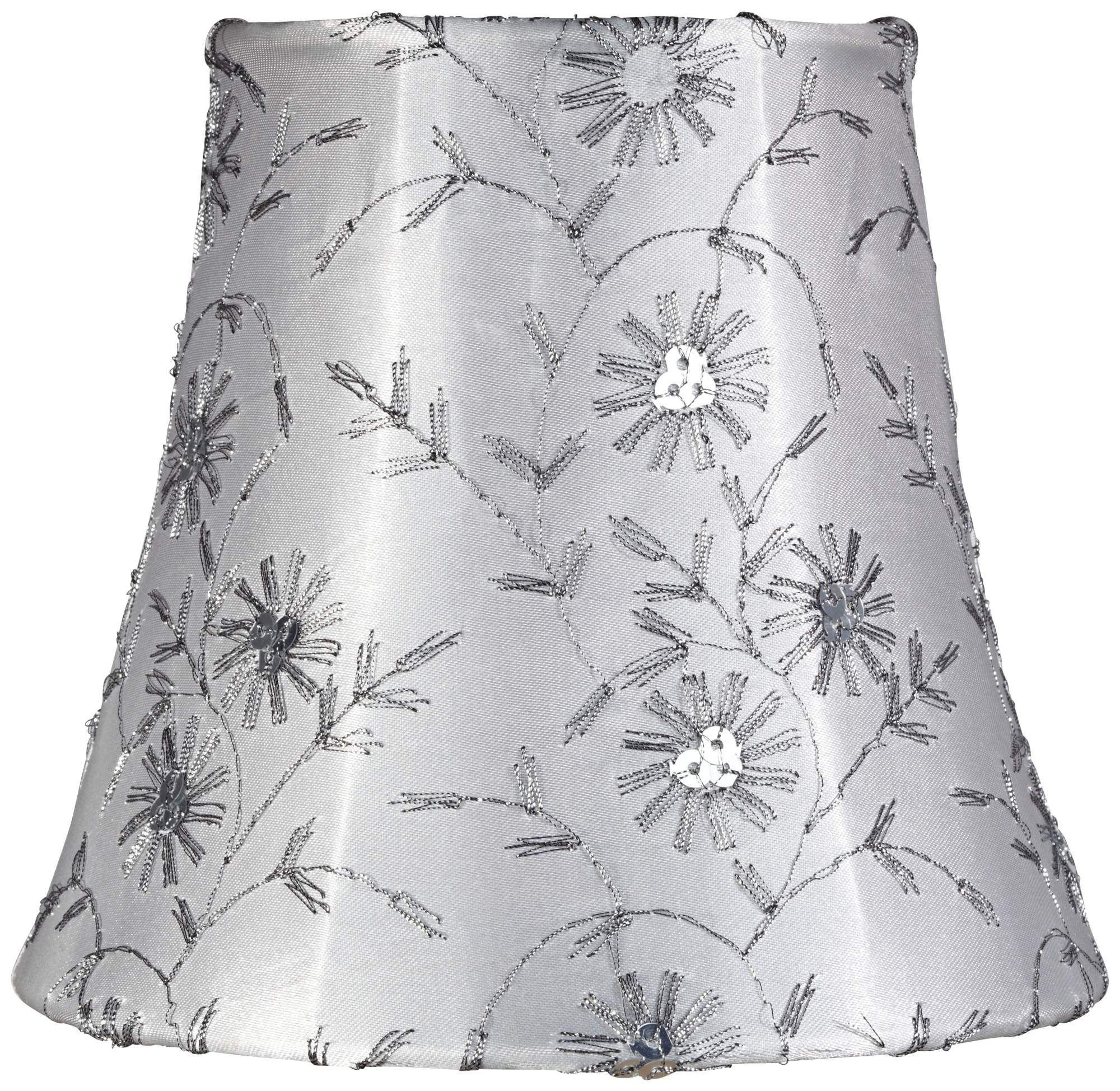 Jasper Gray Floral Clip Lamp Shade
