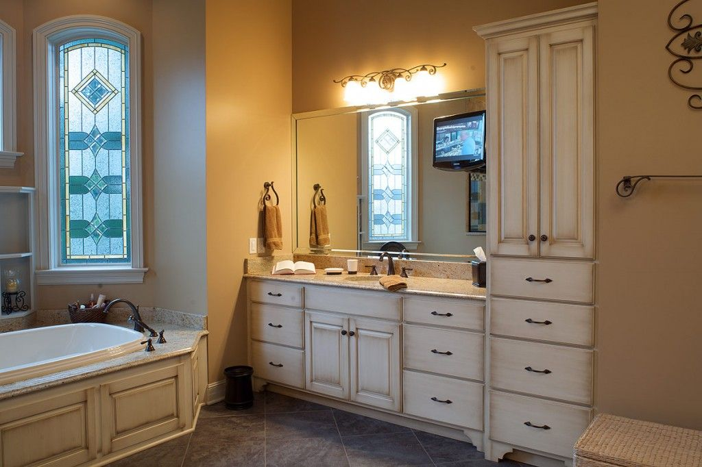 Vintage White Bathroom Vanity Including Wood Bathtub Cabinet And Light Brown Granite Tops Awesome Tuscan Decor