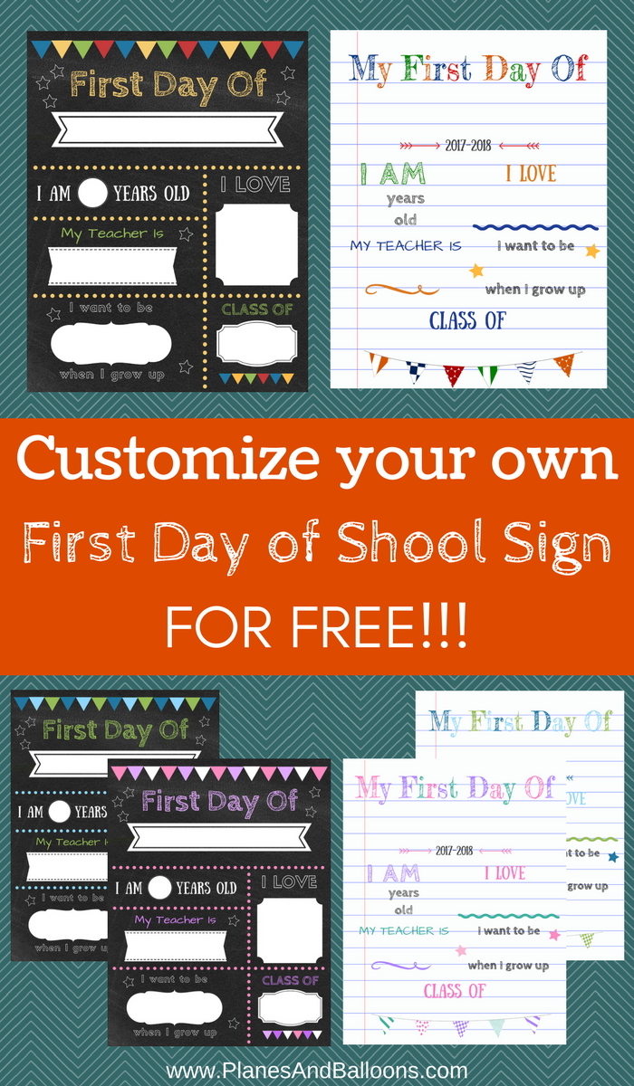 photograph about First Day of School Printable titled Editable 1st working day of college or university signs or symptoms in the direction of edit and down load for