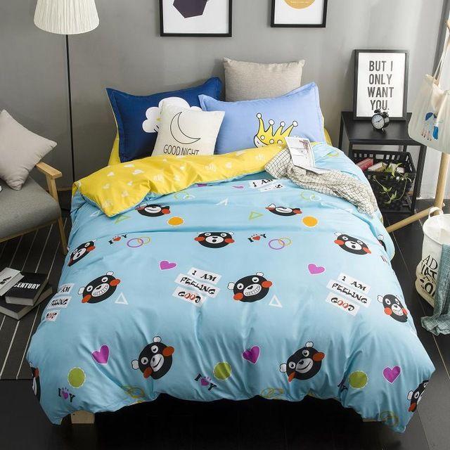 Kumamon Duvet Cover Set 3 4pcs Bedding Set Light Blue Duvet Cover Yellow Bedsheet Pillowcase Queen Twin Duvet Covers Yellow Yellow Bed Sheets Blue Duvet Cover