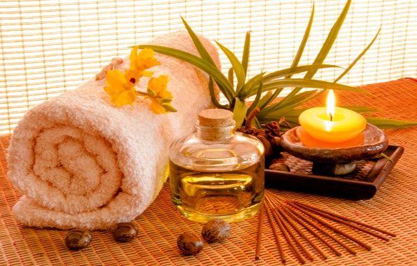 Wallpaper spa, candles, oils, towel