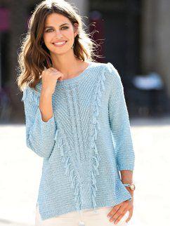 1b6e66182 Camisola mulher em malha tricotada de fantasia com franjas à frente ...