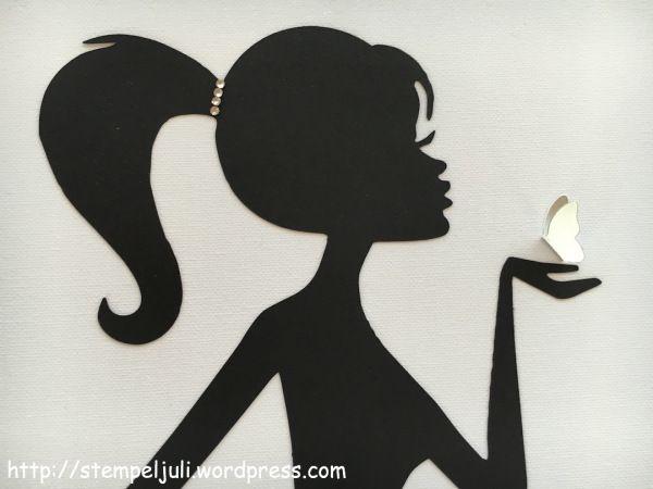 Frau maedchen mit zopf glitzer wandbild schmetterlinge for Schattenbilder selber machen