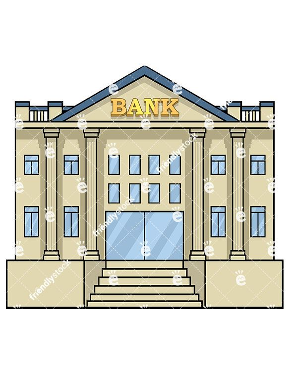 bank building front view - vector