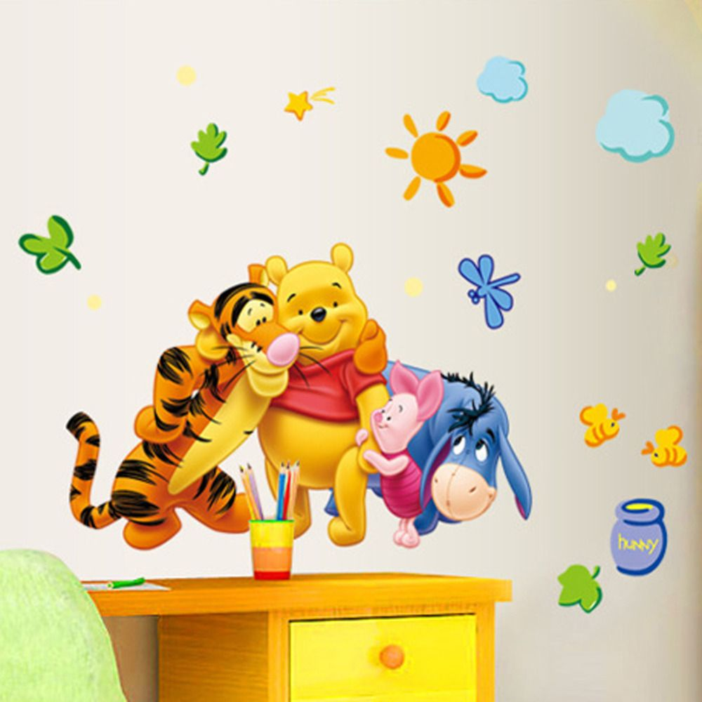 New Arrival The Pooh Cartoon Wall Stickers For Kids Rooms ...