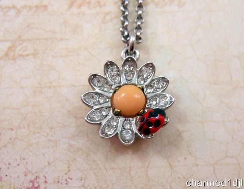 Details about juicy couture rhinestone flower pendant w ladybug details about juicy couture rhinestone flower pendant w ladybug necklace silver tone 18l aloadofball Gallery