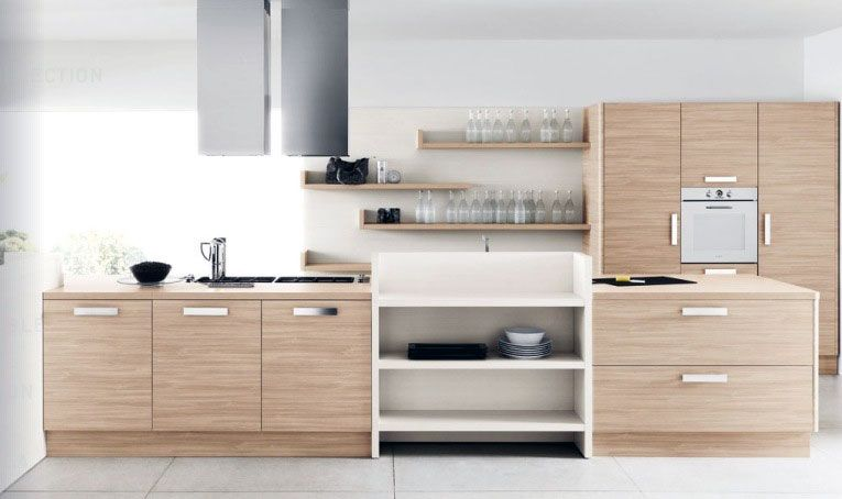 Modern White Kitchens With Wood modern white oak kitchen furniture set | kitchen designs