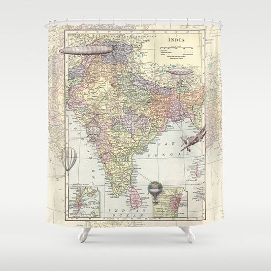 India Fabric Shower Curtain   Travel To India Historical Map   Home Decor    Hot Air