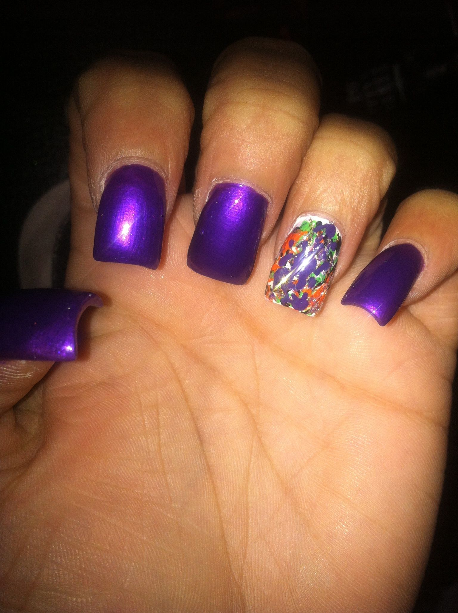 Purple color splash Halloween nails (With images ...