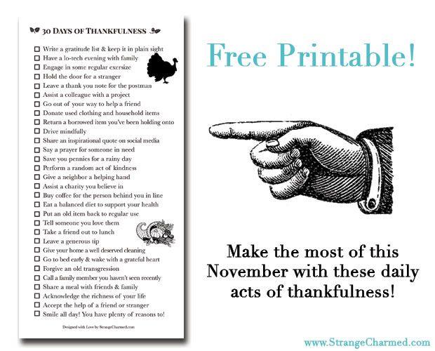 30 Days of Thankfulness {Free Filofax Printable}