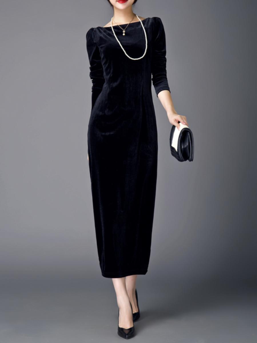 cfe806c5abe4 AZIMAO Velvet Maxi Dress with Belt