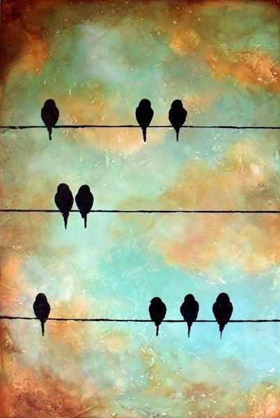 Very Large Birds On A Wire Painting By Contemporaryearthart Background Birds Contemporaryearthart Large Painting Wire Painting Bird Art Birds Painting
