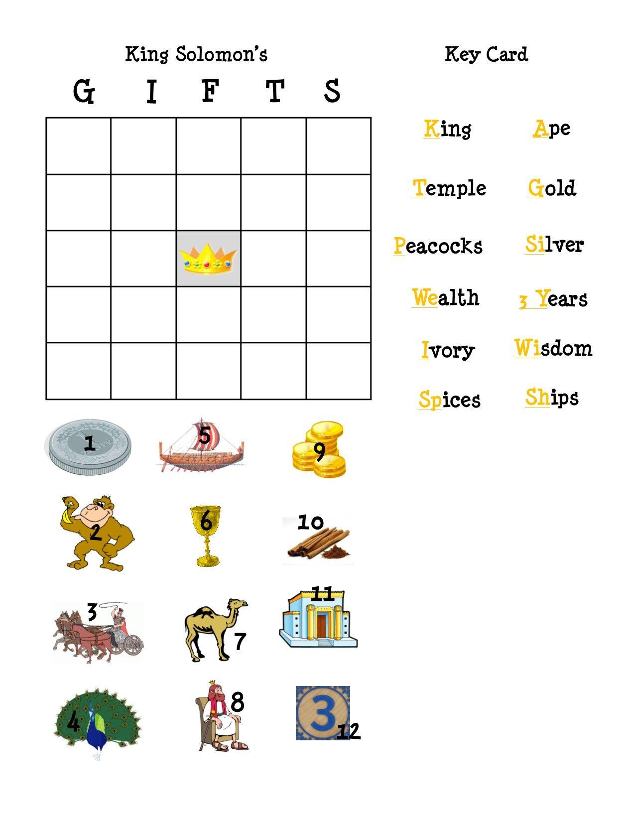 King Solomon Bingo Teacher Key Card