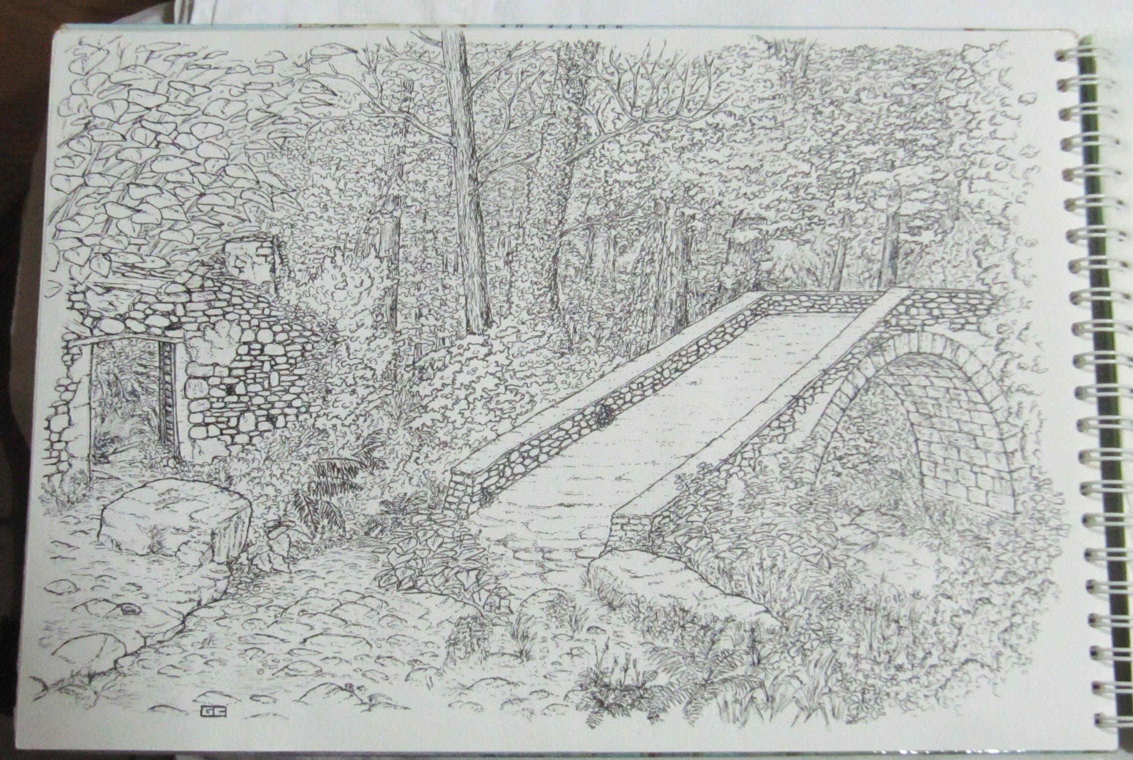 Maison En Ruine Dessin pont génois et ruine dans la forêt en corse sur un chemin