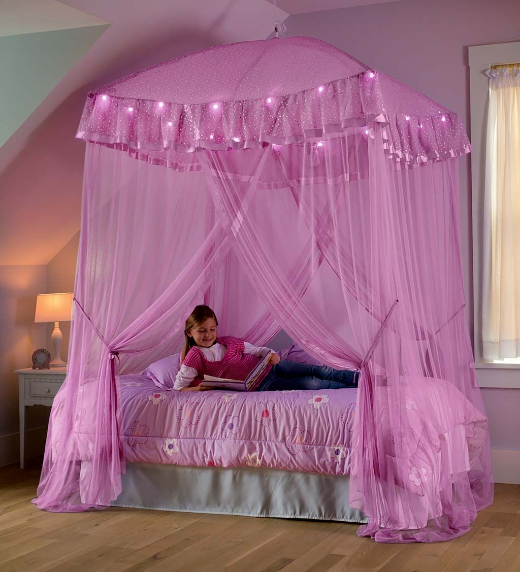 Sparkling Lights LightUp Bed Canopy Pink HearthSong