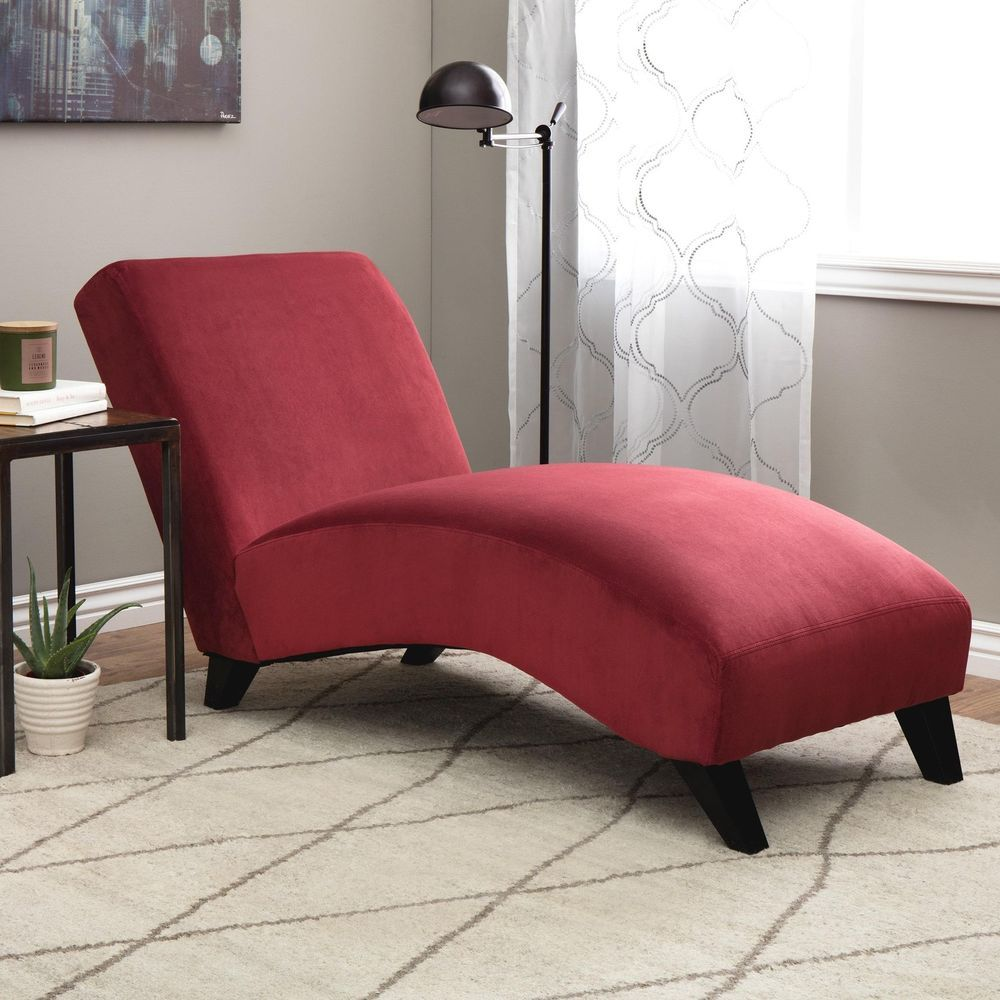 Red Chaise Lounge Chair Indoor Bedroom Modern Living Room Berry