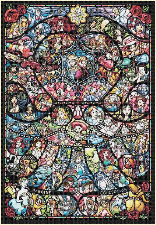 "Disney+heroine+pattern+glass+Cross+Stitch+Pattern+pdf++-+24.29""+x+35.00""+-+C1350"