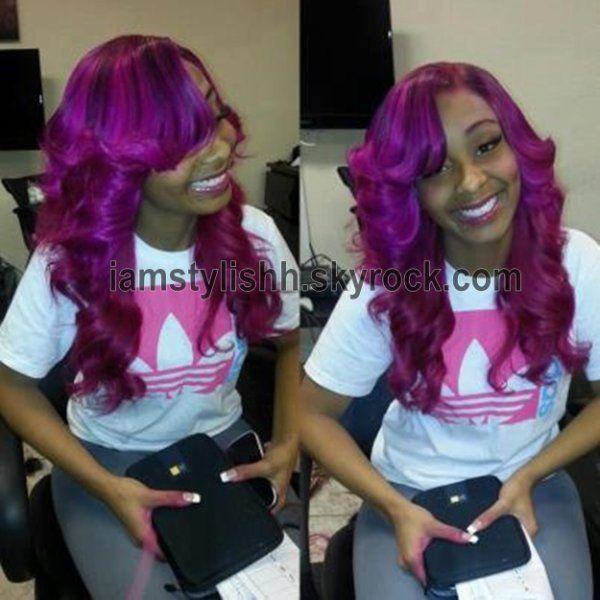 Purple Weave Hair Celebrity Sew In Hairstyles Black Women