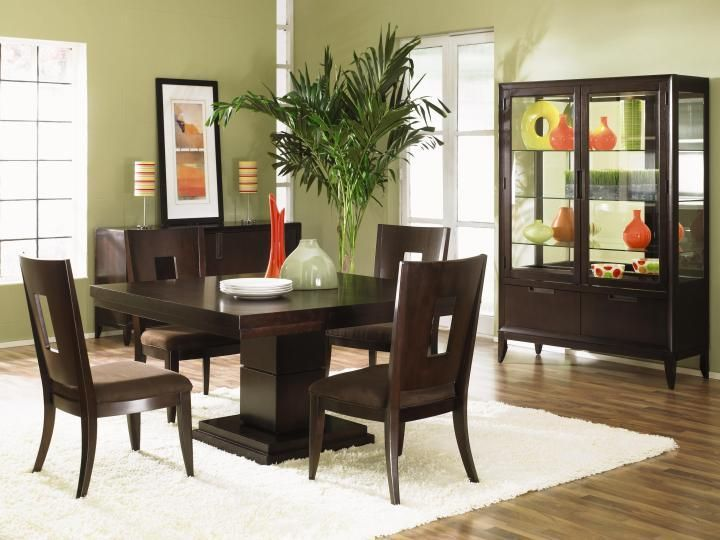 Dining Room, Modern Dining Room Furniture Black Wooden Dinning Table And  Chair With Puffy White