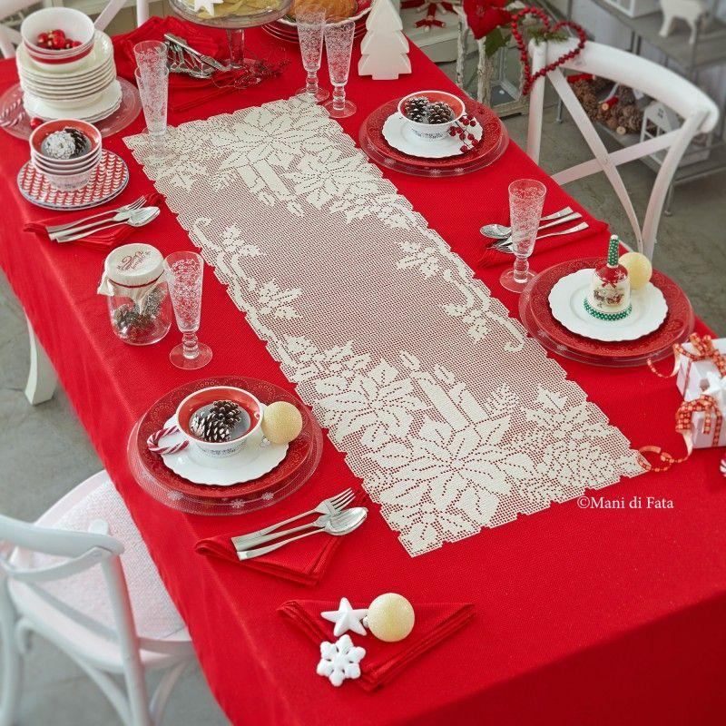 Aida e schema per fare tovaglia di natale ad uncinetto for Pinterest table de noel