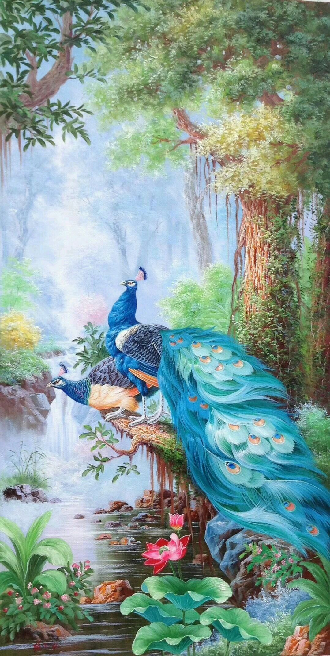 Charming Oil painting nice birds Peacock with flowers in spring season canvas