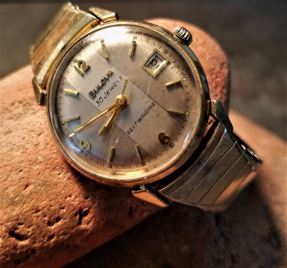 79bf95b56 Mid Century Bulova Men's 30 Jewels Self Winding Wrist Watch - 1950s Mad Men  Style