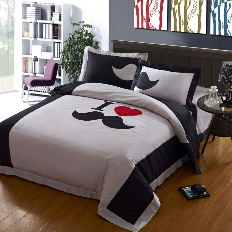 mustache bedding | High thread count Gray Mustache bedding ,Designer Funky  Mustache Duvet .