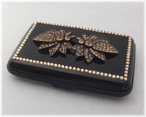 Swarovski Rhinestone Credit Card Case Rfid Black Aluminum