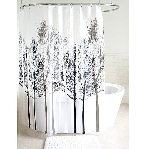 Forest Peva Shower Curtain In Grey Gray Shower Curtains