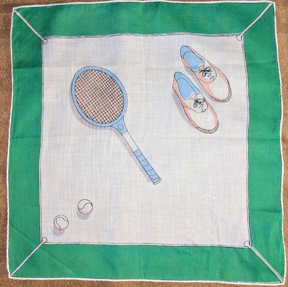 Vintage Ladies Hankie TENNIS SPORT Racket Shoes Balls Women Handkerchief  14