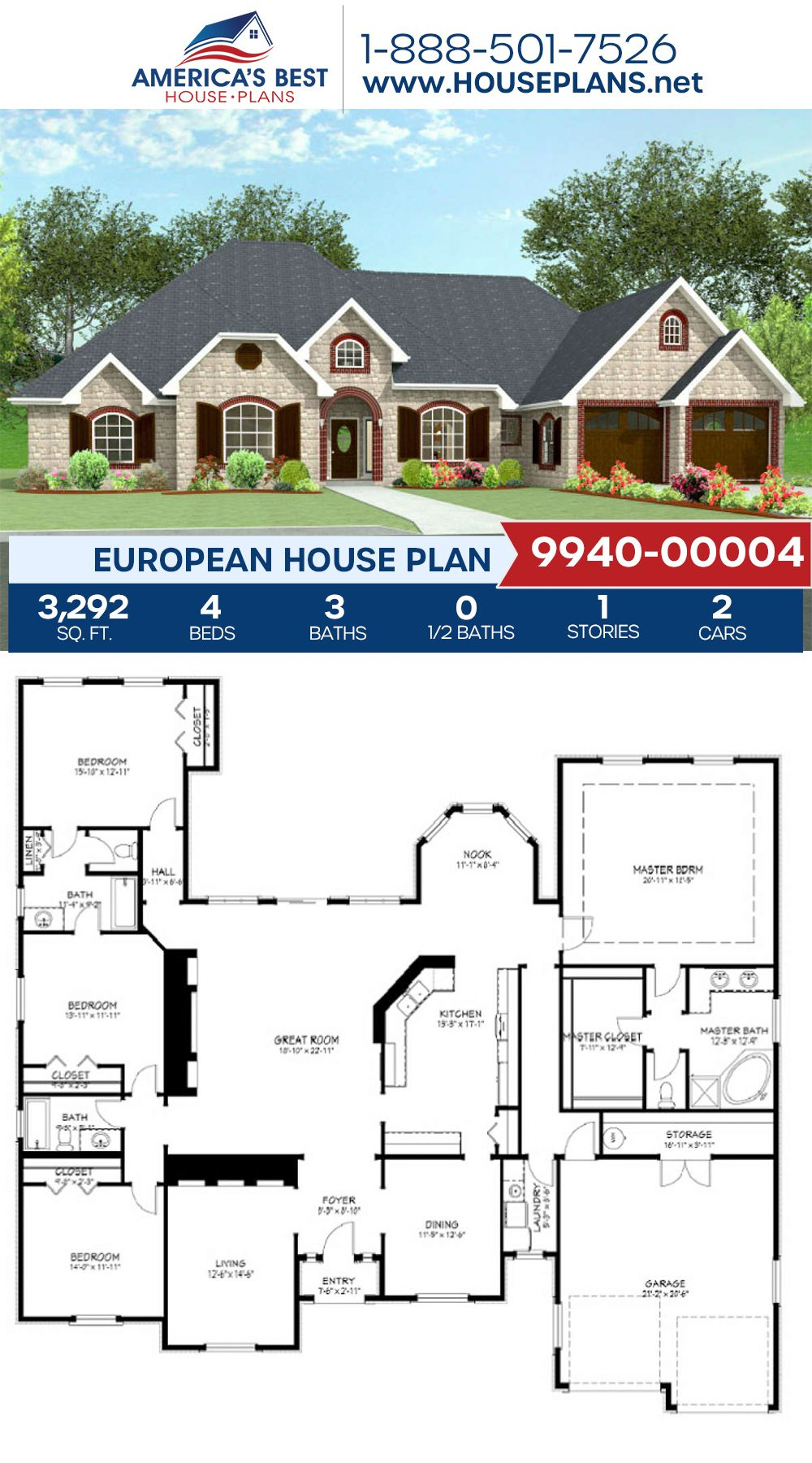 House Plan 9940 00004 European Plan 3 292 Square Feet 4 Bedrooms 3 Bathrooms In 2020 House Plans European House Plans European Plan