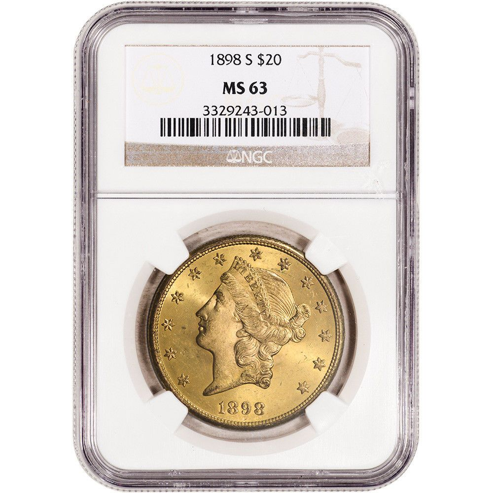 NGC MS64 US Gold $20 Liberty Head Double Eagle Random Date