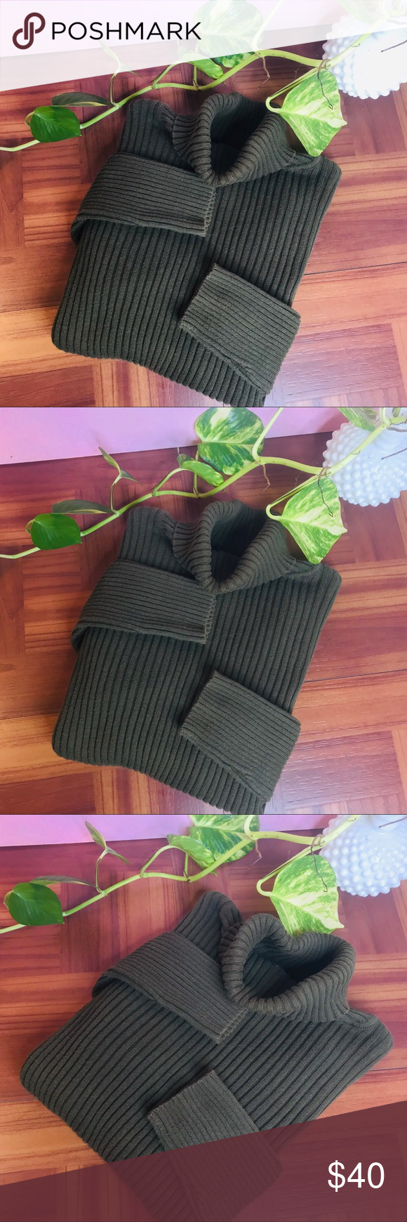 vtg vsco olive ribbed crop turtleneck sweater vtg vsco olive ribbed crop turtleneck sweater • Tags small but would fit an XS nicely as oversized swe...