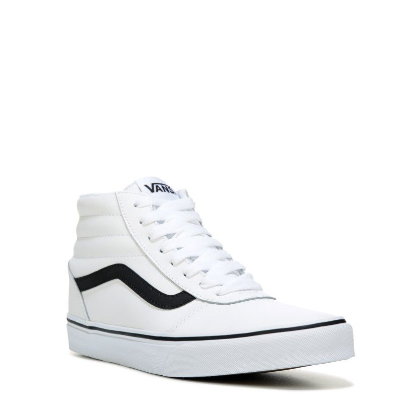 b968985ae28e Vans Men s Ward High Top Leather Sneakers (White Black)